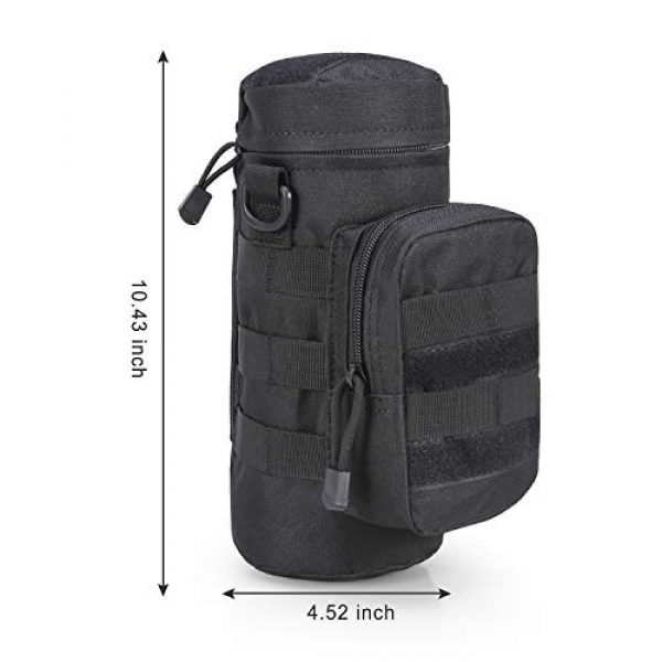 BIENNA Tactical Pouch 2 BIENNA Tactical Bag, Military Water Bottle Bag [Waterproof] [w/Small Pocket] 600D Nylon Molle Gear Zipper Pouch Holder Attachment Accessory Outdoors Travel Hiking Cycling Climbing for Men Women