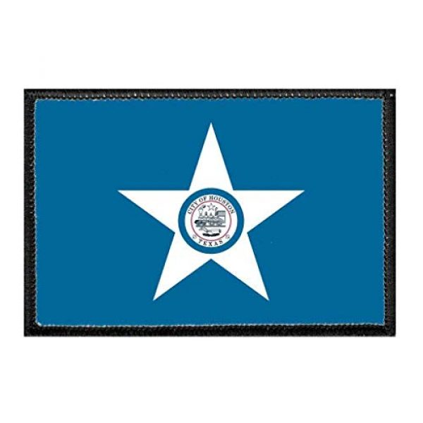 P PULLPATCH Airsoft Morale Patch 1 Houston City Flag - Color Morale Patch | Hook and Loop Attach for Hats, Jeans, Vest, Coat | 2x3 in | by Pull Patch