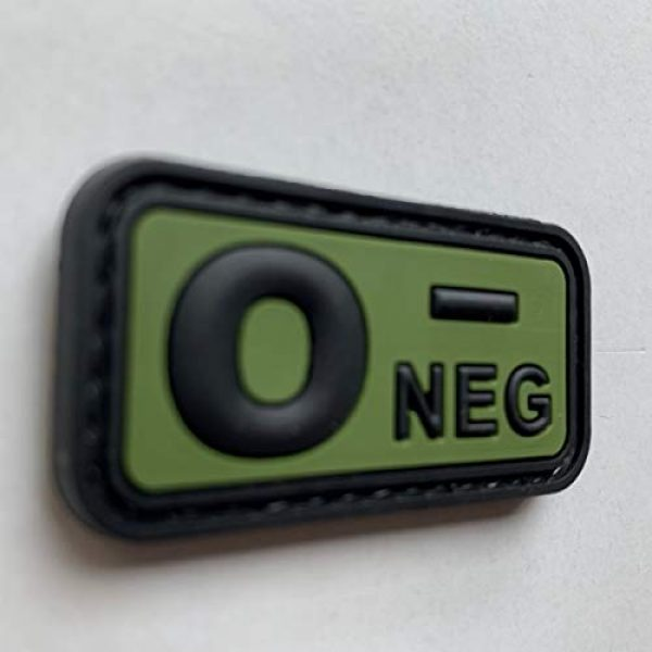uuKen Airsoft Morale Patch 2 uuKen PVC Rubber Medic EMT EMS Emergency Rescue Green O- O NEG Negative Blood Type Group Identifier Tab 3D Tactical Patch with Hook Fastener Backing (Black and Green, 5x2.6cm)
