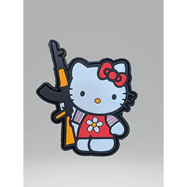 """Beastly Arms Airsoft Morale Patch 1 Kalash Kitty W/AK-47 Tactical PVC Rubber Morale Patch W/Hook Backing 3.3"""" x 2.2"""" Made in USA"""