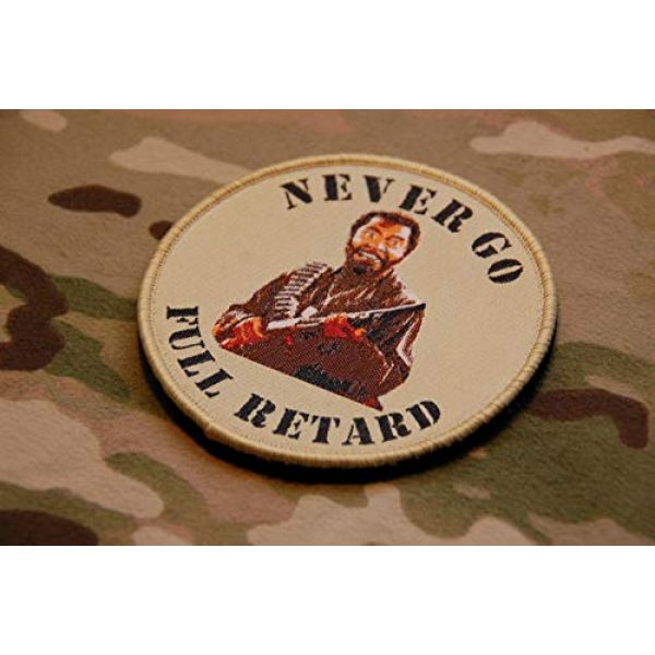 Britkit Airsoft Morale Patch 1 Tactical Hook and Loop Never Go Full Retard Tropic Thunder Morale Patch