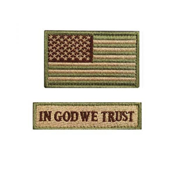Chien Airsoft Morale Patch 1 Chien Tactical Morale Embroidery Patch Funny Military Patch USA Flag Full Embroidered Appliques for Caps Bags Vests Military Uniforms (2 Pieces Multitan(USA+in GOD WE Trust))