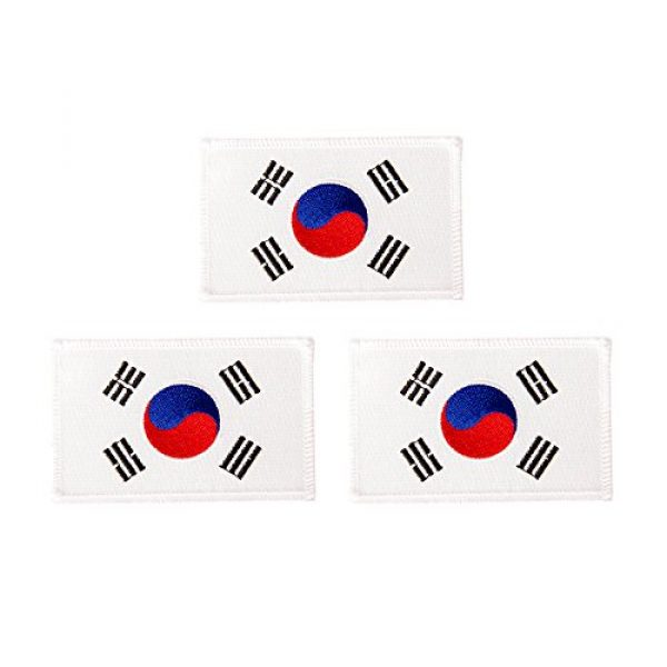 Desert Cactus Airsoft Morale Patch 1 South Korea Flag Patch Bulk 3-Pack 3.5Wx2.25H State Iron On Sew Embroidered Tactical Morale Back Pack Hat Bags Korean (3-Pack Patch)