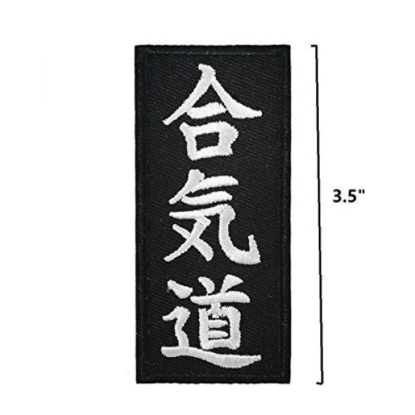Cute-Patch Airsoft Morale Patch 2 Aikido Boxing & Martial Arts Embroidered Iron on sew on Patch Kanji Applique Black White