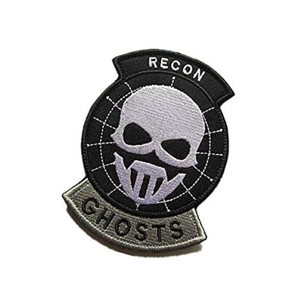 Embroidery Patch Airsoft Morale Patch 3 US Recon Ghosts Military Hook Loop Tactics Morale Embroidered Patch (color3)
