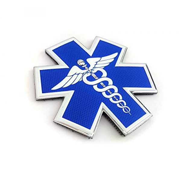 """Tactical Innovations Canada Airsoft Morale Patch 2 PVC Morale Patch - EMS - Medical Responder 3"""" Star of Life - Dual Snake - Blue/White/Silver"""