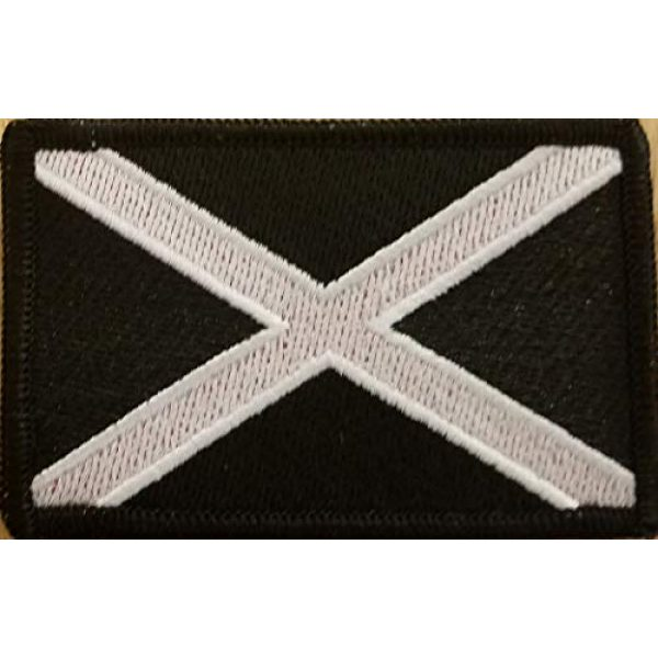 Fast Service Designs Airsoft Morale Patch 2 The Scotland Flag Embroidered Patch Iron-On White & Black Tactical Morale Patriotic Emblem Black Border #6