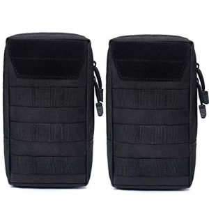 Zarcdo Tactical Pouch 1 Zarcdo Molle Pouches - Tactical Compact Water-Resistant Multi-Purpose EDC Utility Gadget Gear Hanging Waist Bags Belt Holsters(2Pack) - Black