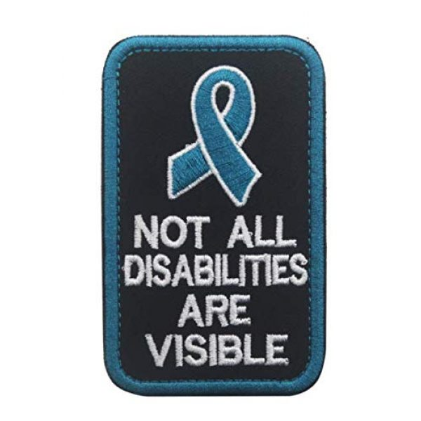 Embroidered Patch Airsoft Morale Patch 1 Not All Disabilities are Visible 3D Tactical Patch Military Embroidered Morale Tags Badge Embroidered Patch DIY Applique Shoulder Patch Embroidery Gift Patch