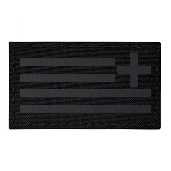 Tactical Freaky Airsoft Morale Patch 1 IR Blackout Greek Greece Reversed Flag Hellenic Hellas 3.5x2 Infrared IFF Tactical Morale Touch Fastener Patch