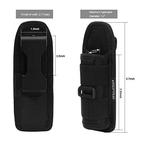 AIRSOFTPEAK Tactical Pouch 6 AIRSOFTPEAK Flashlight Pouch Holster Carry Case Holder with 360 Degrees Rotatable Belt Clip Long Type, Black