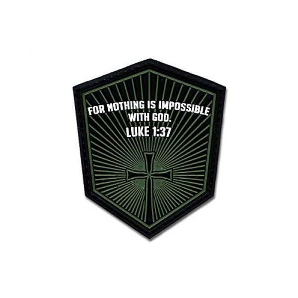 BASTION Airsoft Morale Patch 1 Bastion Tactical Combat Badge PVC Morale Patch Hook and Loop Patch - Luke 1:37 (Green)