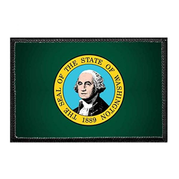 P PULLPATCH Airsoft Morale Patch 1 Washington State Flag - Color | Hook and Loop Attach for Hats, Jeans, Vest, Coat | 2x3 in | by Pull Patch