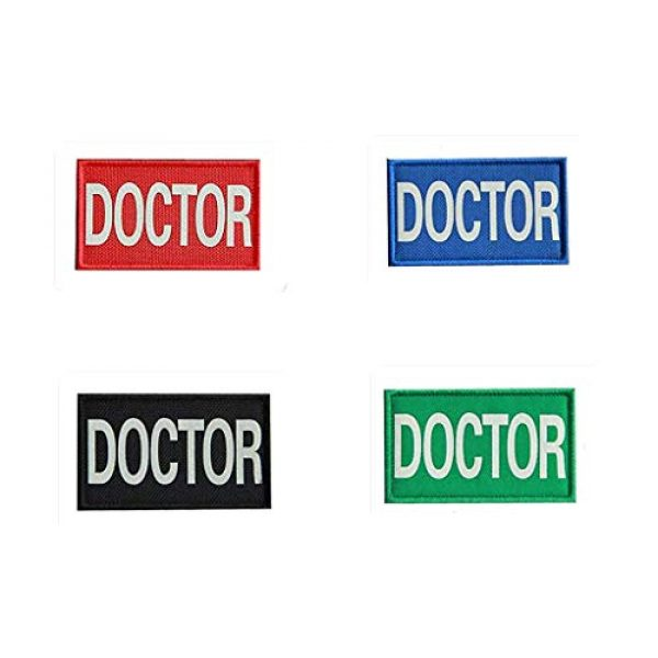 Embroidery Patch Airsoft Morale Patch 1 4 Pieces Doctor Infrared Reflective Military Hook Loop Tactics Morale Patch (color5)