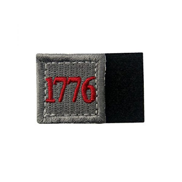 EmbTao Airsoft Morale Patch 4 1776 American Independence Emblem Tactical USA Morale Embroidered Applique Fastener Hook&Loop Patch - Sliver Gray