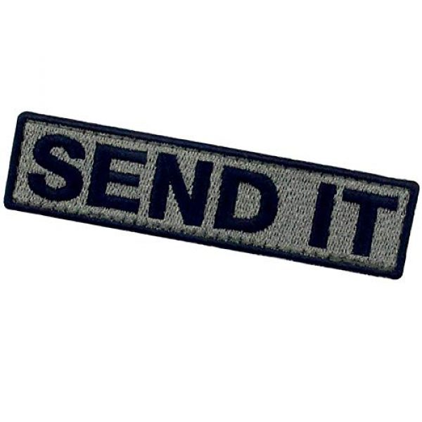 EmbTao Airsoft Morale Patch 4 Send It Embroidered Patch Tactical Morale Applique Fastener Hook & Loop Emblem, Olive & Black