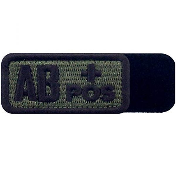 """EmbTao Airsoft Morale Patch 5 EmbTao Type AB Positive Tactical Blood Type Patch Embroidered Morale Applique Fastener Hook & Loop Emblem - Green & Black - 2""""x1"""""""