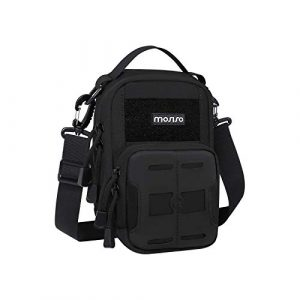 MOSISO Tactical Pouch 1 MOSISO Tactical Pouch,1000D Polyester Military Outdoor Molle Hip Waist Belt Bag Phone Holster Purse with Handle & Shoulder Strap for Hiking Hunting Fishing Camping Training,Black