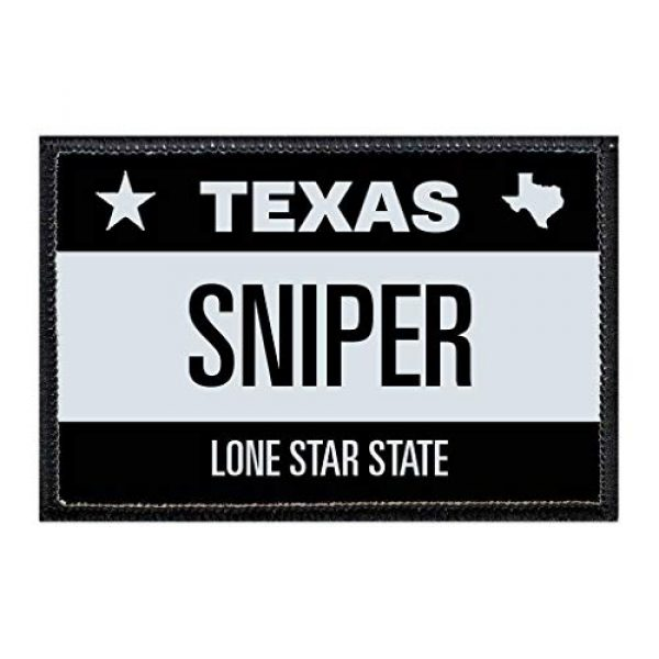 P PULLPATCH Airsoft Morale Patch 1 Sniper - Texas License Plate Morale Patch | Hook and Loop Attach for Hats, Jeans, Vest, Coat | 2x3 in | by Pull Patch
