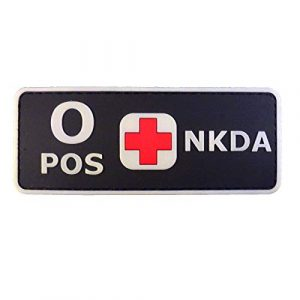 LEGEEON Airsoft Morale Patch 1 LEGEEON PVC Rubber 3D GITD Touch Fastener Patch Blood Type NKDA Glow in The Dark Combat Tactical GID