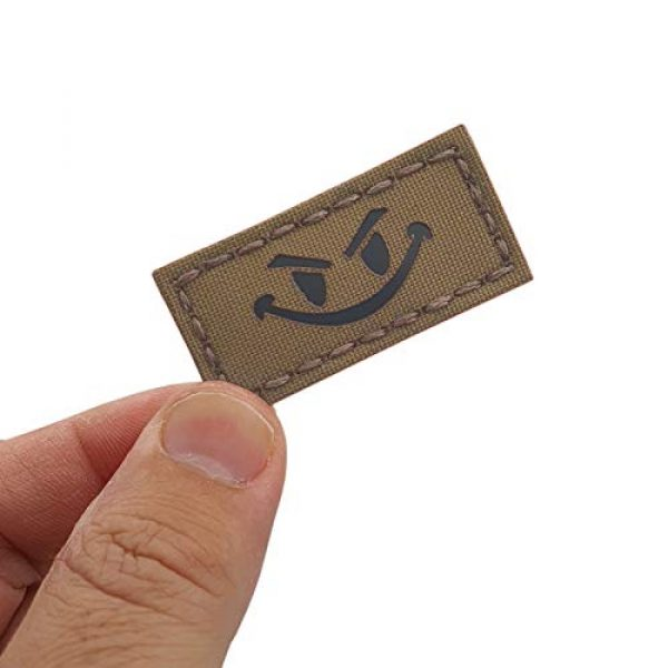 Tactical Freaky Airsoft Morale Patch 1 Tiny 1x2 IR Coyote Evil Smiley DEVGRU Tan Army Tactical Morale Fastener Patch
