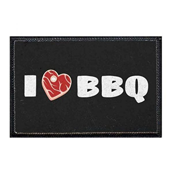 P PULLPATCH Airsoft Morale Patch 1 I Love BBQ Morale Patch | Hook and Loop Attach for Hats, Jeans, Vest, Coat | 2x3 in | by Pull Patch