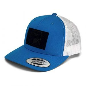 P PULLPATCH Tactical Hat 1 Pull Patch Tactical Hat | Authentic Snapback 2-Tone Curved Bill Trucker Cap | 2x3 in Hook and Loop Surface to Attach Morale Patches | 6 Panel | Turquoise and White | Free US Flag Patch Included
