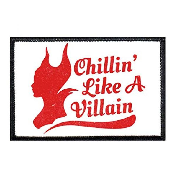 P PULLPATCH Airsoft Morale Patch 1 Chillin' Like A Villain Maleficent Morale Patch | Hook and Loop Attach for Hats, Jeans, Vest, Coat | 2x3 in | by Pull Patch