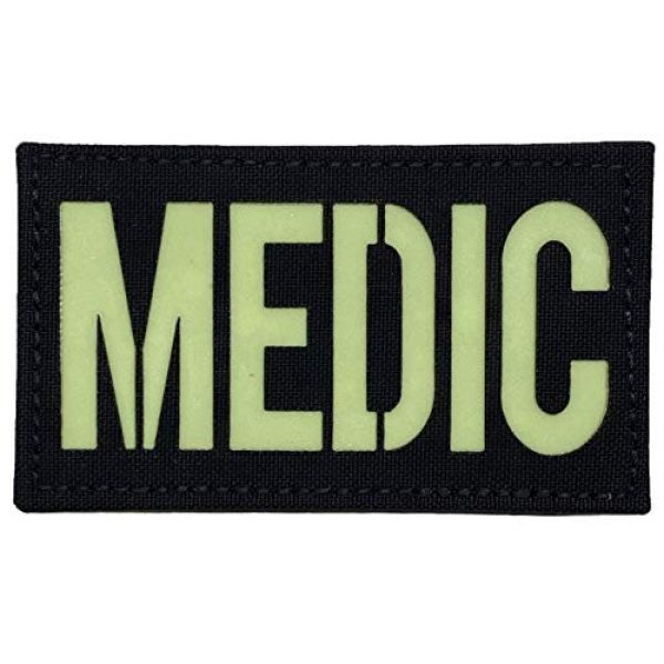 """F-Bomb F Morale Gear Airsoft Morale Patch 1 Medic - Glow in The Dark - Tactical Morale Patch with Hook-Fastener Backing - 2x3.5"""" (Black)"""