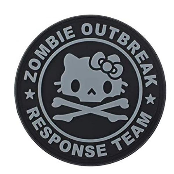 Tactical PVC Patch Airsoft Morale Patch 2 Hello Kitty Zombie Outbreak Response Team PVC Military Tactical Morale Patch Badges Emblem Applique Hook Patches for Clothes Backpack Accessories