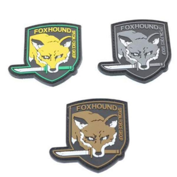 Tactical PVC Patch Airsoft Morale Patch 1 Metal Gear Solid MGS Fox Hound Special Force Group PVC Military Tactical Morale Patch Badges Emblem Applique Hook Patches for Clothes Backpack Accessories