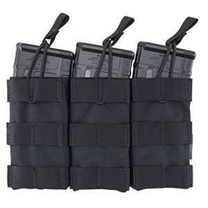 IDOGEAR Tactical Pouch 1 IDOGEAR Triple Mag Pouch 5.56mm MOLLE Open-Top Magazine Pouch Triple Tactical Mag Holder for M4/M16/AR Series Rifle Magazine 500D Nylon