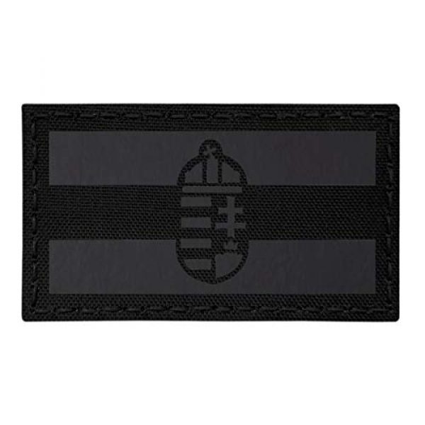 Tactical Freaky Airsoft Morale Patch 1 IR Blackout Hungary Flag Magyarorszg 2x3.5 IFF Infrared Tactical Morale Touch Fastener Patch