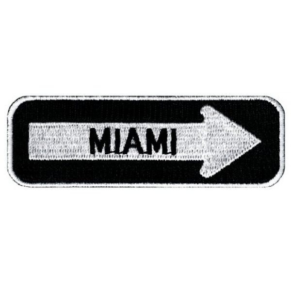Cypress Collectibles Embroidered Patches Airsoft Morale Patch 1 One Way Sign Miami Florida Embroidered Patch Iron-On Highway Road Biker