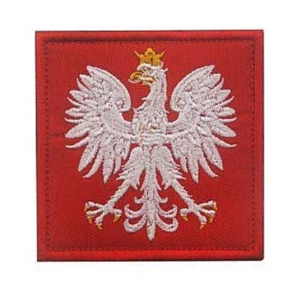Embroidery Patch Airsoft Morale Patch 1 Poland Flag Polska Eagle Special Force GROM Military Hook Loop Tactics Morale Embroidered Patch (color1)