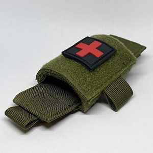 Brass Tactical Pouch 1 Brass Half Full Tactical Police & Military Belt Tourniquet Holder/Pouch for CAT/SOF-T/SWAT-T/Rats, Hook-and-Loop Patch Panel (Comes w/1 First Aid Medical Cross Patch) (OD Green- Molle Mount)