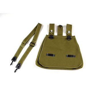 N.Ent Tactical Pouch 1 WWII German Military Army Canvas Bread Bag with Shoulder Strap Pouch