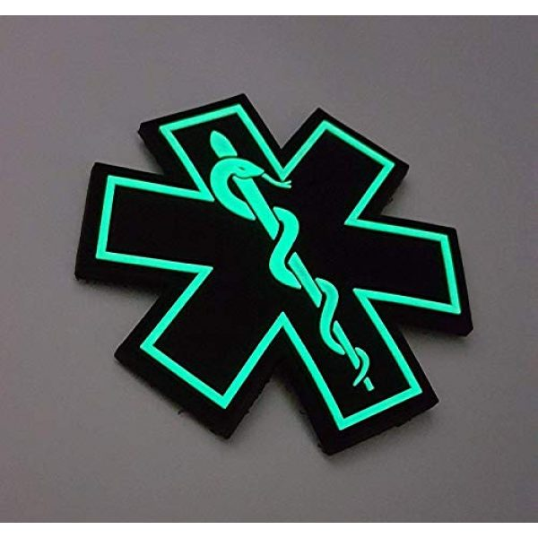 """Tactical Innovations Canada Airsoft Morale Patch 3 PVC Morale Patch - EMS - Medical Responder 3"""" Star of Life - Glow in The Dark - Single Snake"""