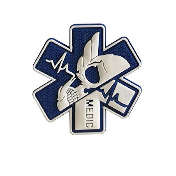 Zhikang68 Airsoft Morale Patch 2 Medic Patch 3D PVC Rubber Paramedic Medical EMS EMT MED First Aid Morale Tactical Morale Skull Military Hook Fasteners Badge (White Blue)