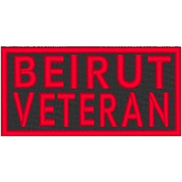 Fast Service Designs Airsoft Morale Patch 1 Beirut Veteran Patch with Hook & Loop Tactical Morale Travel Emblem Red Border