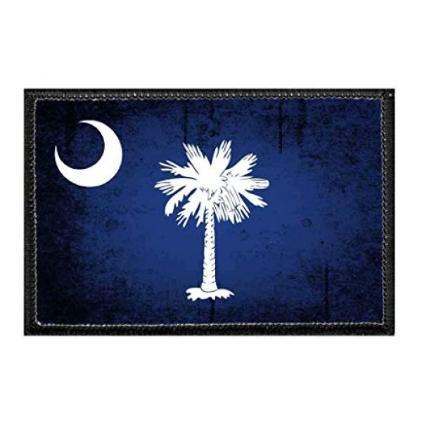 P PULLPATCH Airsoft Morale Patch 1 South Carolina State Flag - Color - Distressed Morale Patch | Hook and Loop Attach for Hats, Jeans, Vest, Coat | 2x3 in | by Pull Patch