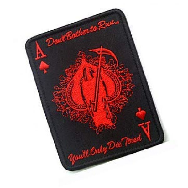 Embroidery Patch Airsoft Morale Patch 2 ACE of Spades Grim Reaper Death Card Patch Military Hook Loop Tactics Morale Embroidered Patch