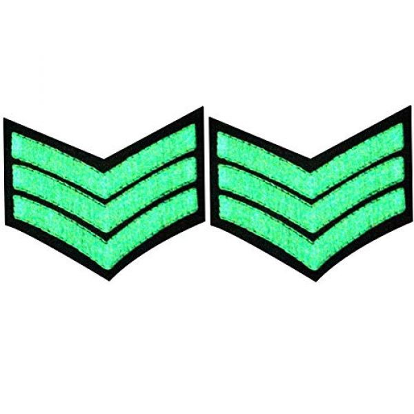EmbTao Airsoft Morale Patch 1 Glow in Dark Millitary Uniform Chevrons Sergeant Stripes US Army Embroidered Arms Emblem Iron On Sew On Shoulder Patch, Pack of 2