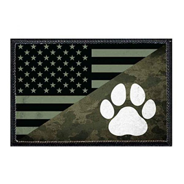 P PULLPATCH Airsoft Morale Patch 1 US Camo Paw Flag Morale Patch | Hook and Loop Attach for Hats, Jeans, Vest, Coat | 2x3 in | by Pull Patch