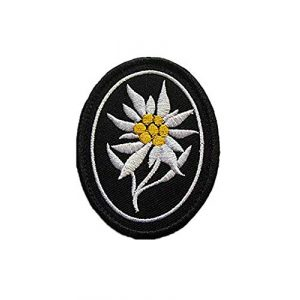 Embroidery Patch Airsoft Morale Patch 1 WW2 German Mountain Division Elite Edelweiss Military Hook Loop Tactics Morale Embroidered Patch