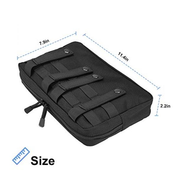 ProCase Tactical Pouch 3 ProCase Tactical Admin Molle Pouch, Military MOLLE Pouch Horizontal Multi-Purpose Utility Gadget Gear Tool Bag for Magazine, Flashlight, Map and Other Small Tools for Outdoor Activities -Black