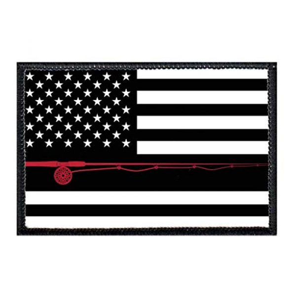 P PULLPATCH Airsoft Morale Patch 1 US Flag - Fly Fishing - Black and White Morale Patch | Hook and Loop Attach for Hats, Jeans, Vest, Coat | 2x3 in | by Pull Patch