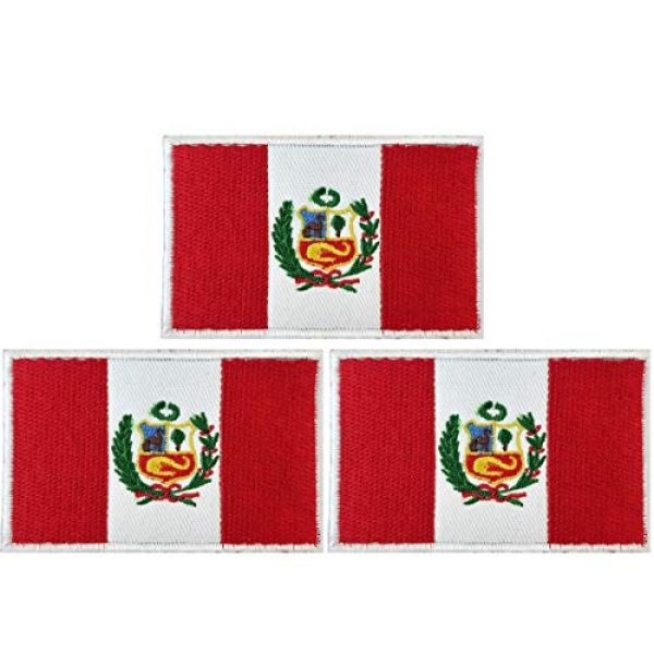 JAVD Airsoft Morale Patch 1 JAVD (3Pack) Country Patch (Peru) Peru Flag Patch Peruvian Flags Patchs, Peru Tactical Flag Embroidery Patch with, for Hats, Tactical Bags, Jackets, Clothes Patch Team Military Patch