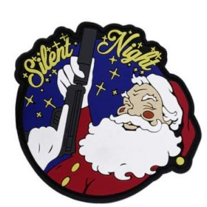 Tactical PVC Patch Airsoft Morale Patch 1 Christmas Silent Night Father Christmas Santa Claus Morale Military Patch 3D PVC Rubber Tactical Rubber Hook Patch
