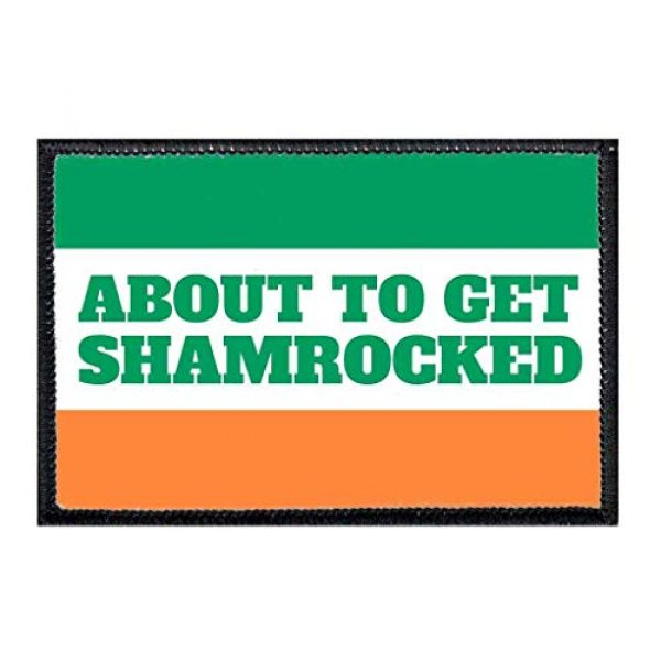 P PULLPATCH Airsoft Morale Patch 1 About to Get Shamrocked - Irish Flag Morale Patch   Hook and Loop Attach for Hats, Jeans, Vest, Coat   2x3 in   by Pull Patch